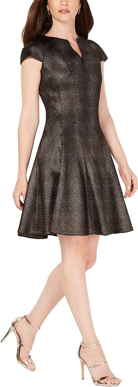 JULIA JORDAN Women's Mesh Jacquard Fit & Flare Dress