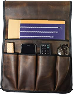 Hide & Drink, Durable Leather Non-Slip Remote Control & Magazine Holder/Couch Organizer/Sofa Armrest Pouch/Couch Potato Essentials, Handmade Includes 101 Year Warranty :: Bourbon Brown