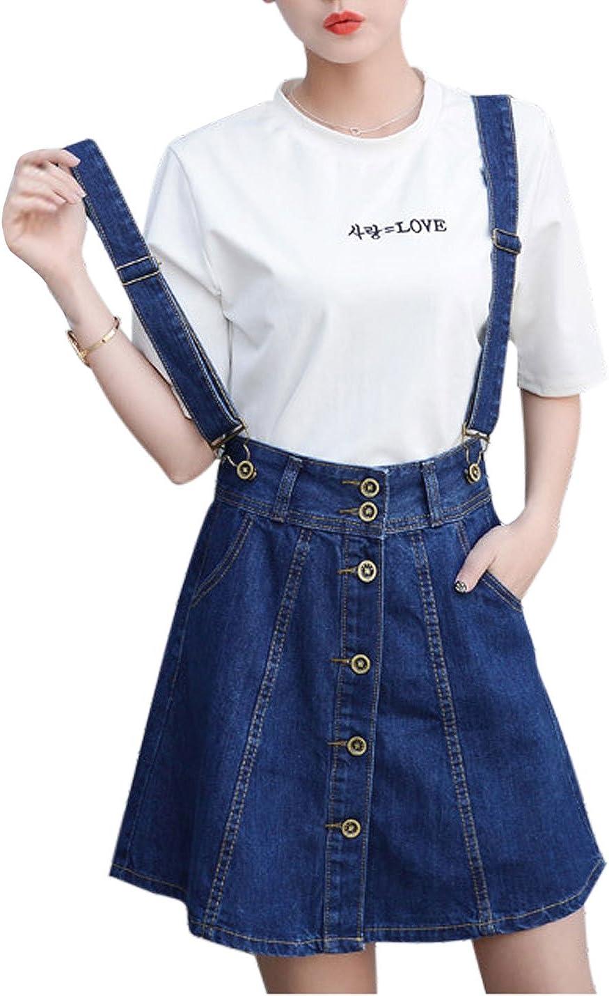 Tanming Women's Above Knee Detachable Shoulder Strap Denim Overall Skirt