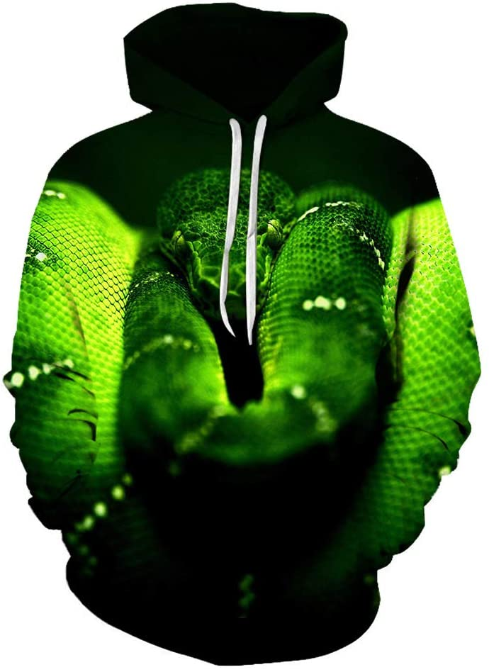 Cjhutyioh 3D Outerwear 3D Snake Simple Design Pullover Leisure Breathable Outwear Men (Color : A01, Size : Large)