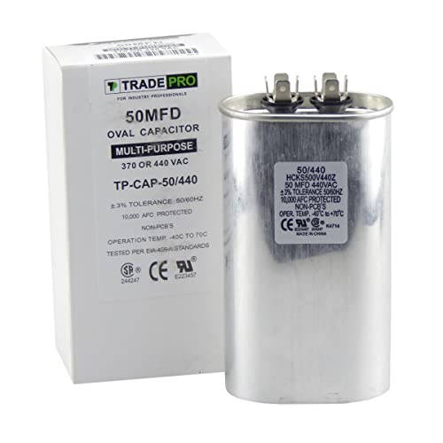 50 mfd Capacitor, Industrial Grade Replacement for Central Air-Conditioners, Heat Pumps,