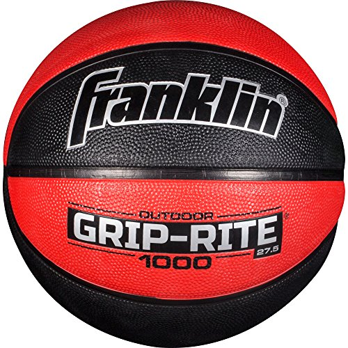 """Franklin Sports Grip-Rite 1000 Youth Basketball — Durable Basketball — Junior Size Basketball for School, Camp, Home Basketball Practice — Indoor and Outdoor Basketball — Black/Red —27.5"""""""