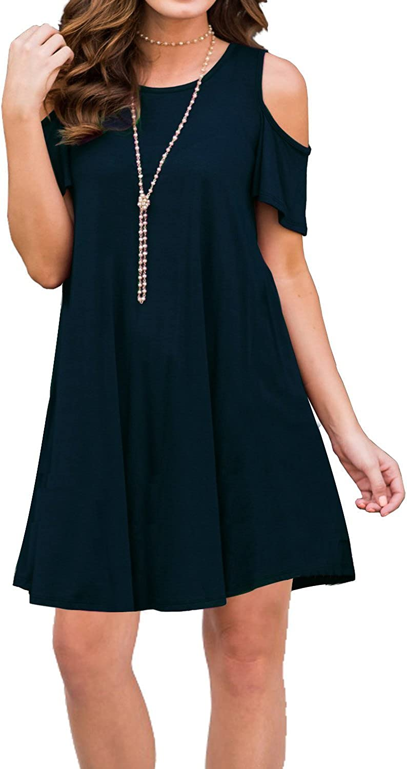 Unidear Women Cold Shoulder Tunic Top Short Sleeve Casual Tunic Top Dress Navy bluee S