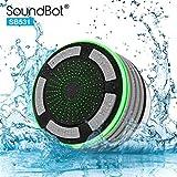 soundbot ipx7防水Bluetoothワイヤレスシャワースピーカー5Wワットwith 8時間再生、FMラジオチューナー内蔵、LED、プレミアムHDサウンド、水Weather Resistantポータブルスピーカーフォン、sb531 グレー SB531