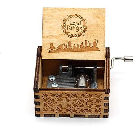 Jsona - Carillon vintage con manovella, in legno con incisioni, Legno, Lord of the Rings