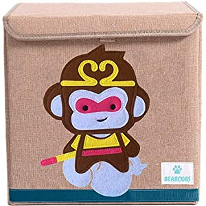 BEARCUBS Cute Animal Designs Foldable Toy Storage Box for Kids – 13 x 13 in Cube Nursery Organizer for Children's Clothes, Toys – Stackable Toy Chest Storage Bin with Lid (Monkey)