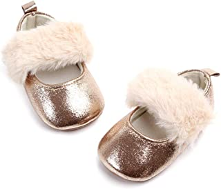 Faux Fur Baby Girls Mary Jane Shoes for Dress Holiday Wedding Infant Shiny PU Leather First Walkers Non Slip