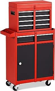 Goplus 5-Drawer Rolling Tool Chest, Tool Storage Box, Removable Tool Cabinet, Sliding Metal Organizer w/Lockable Drawers (Red+Black)