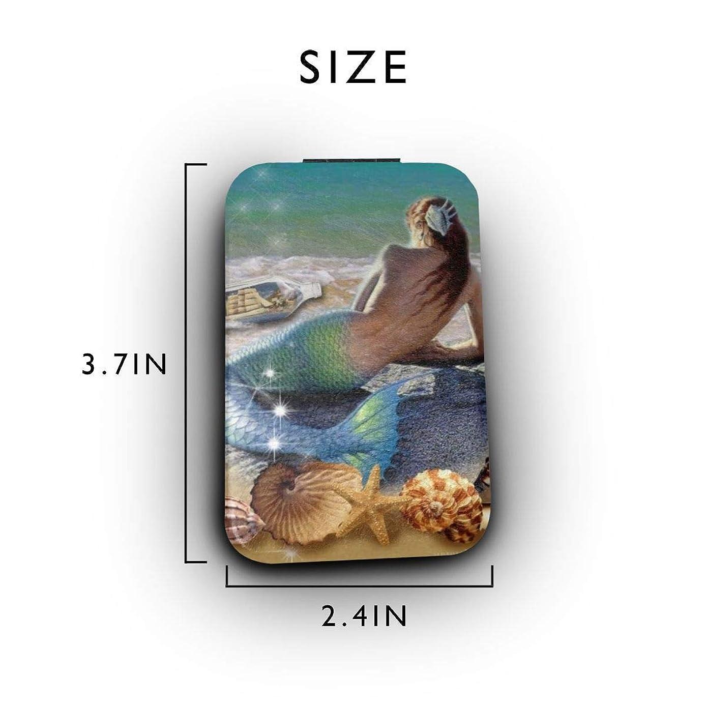 ピュー降ろす精巧な人魚 携帯ミラー 手鏡 化粧鏡 ミニ化粧鏡 3倍拡大鏡+等倍鏡 両面化粧鏡 角型 携帯型 折り畳み式 コンパクト鏡 外出に 持ち運び便利 超軽量 おしゃれ 9.8X6.6CM