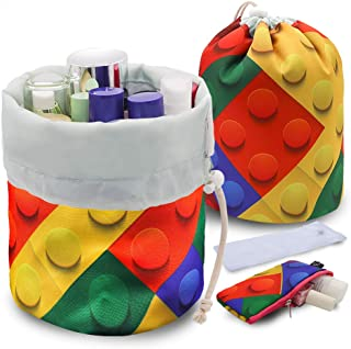 UYRIE Portable Makeup Toiletry Cosmetic Travel Organizer Bag, Large Drawstring Hanging Packing Bag for Women Girl Men, Lightweight Multifunctional Barrel Shaped Storage Bag (Colorful Blocks)