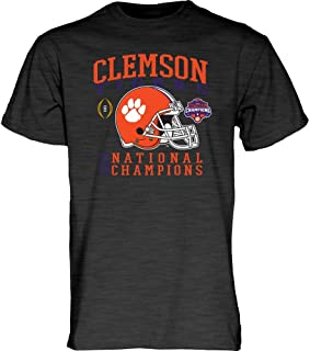 Elite Fan Shop Clemson Tigers National Champs Tshirt 2018-2019 Charcoal Helmet