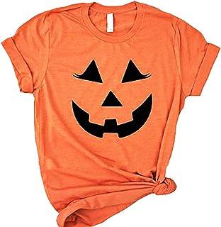 Womens Halloween Pumpkin Face Funny Short Sleeve T-Shirt Hallowmas Costume O-Neck Loose Casual Tees Tops