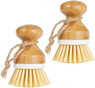 mDesign Bamboo Round Mini Palm Scrub Brush, Stiff Bristles - Wet Cleaning Scrubber - Wash Dishes, Pots, Pans, Vegetables -...