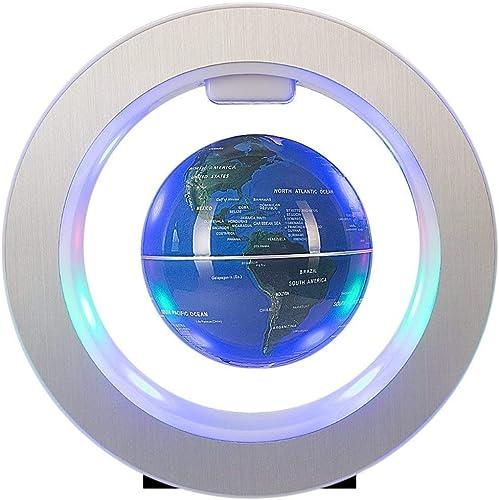 GH DQY- 4 Zoll Floating Globe mit LED-Leuchten Magnetschwebebahn Floating Globe mit Power Button Weltkarte für Schreibtischdekoration Kids Educational Globe