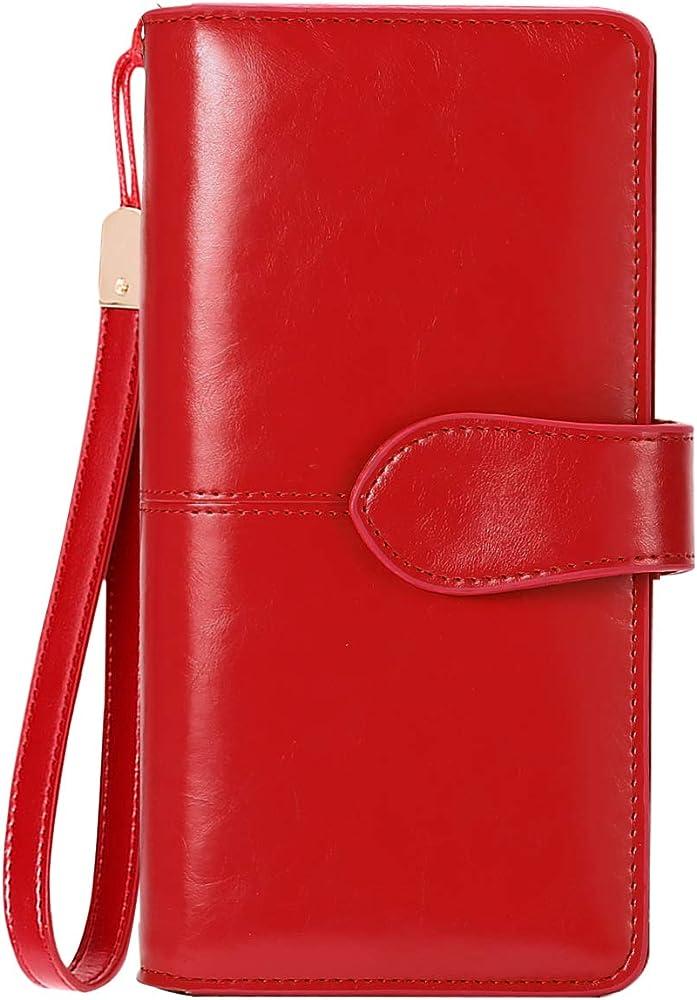 Btneeu portafoglio in pelle per donna porta carte di credito protezione rfid rosso1