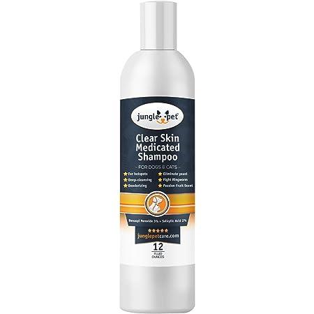 Jungle Pet Clear Skin Medicated Shampoo - Benzoyl Peroxide 3% - DEGREASING - Flushing -Passion Fruit ANTIBACTERIAL Antifungal 12oz