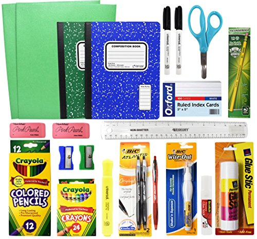 Back To School Basic Classroom Supply Pack (23 Count) School Supply Kit For First, Second,Third, Fourth, Fifth, Sixth, Seventh & Eighth Grades!
