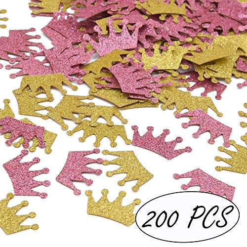 Princess Theme Party Confetti Crowns Glitter Confetti Girls Birthday Baby Shower Decorations, Pink and Gold, 200ct