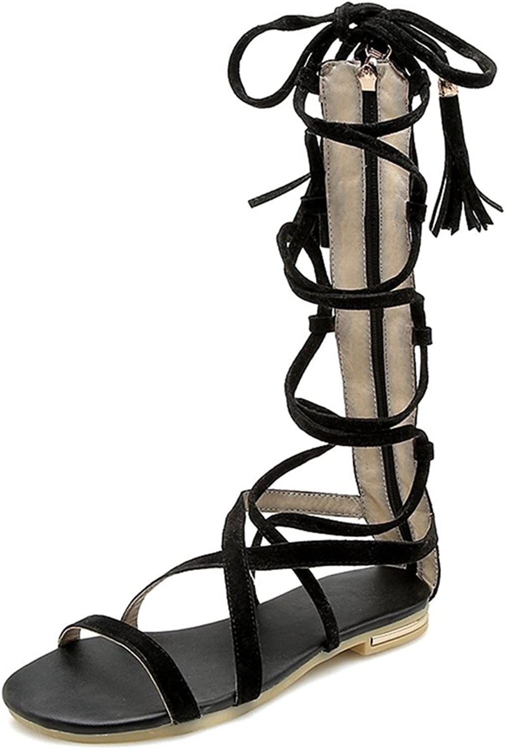 GIY Women's Flat Gladiator Strappy Sandals Tall Mid-Calf Open Toe Zipper Caged Roman Fringe Sandals shoes