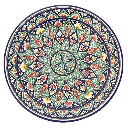 Orientalischer Lagan Rischtan Keramik XXL Teller handbemalt Ø 41 cm (Muster 7)