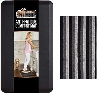 Gorilla Grip Anti Fatigue Mat and Loop Doormat, Anti Fatigue Mat Size 24x17 in Black Color, and Loop Doormat Size 24x16 in...