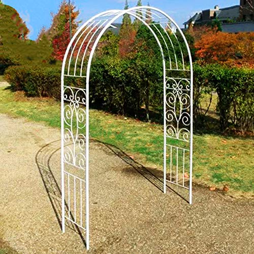 Tall 2M Metal Garden Arch, Strong Tubular Garden Arbour for Roses Climbing Plants, Support Archway, Wedding Decoration (Black, White)