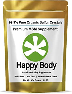 Organic Sulfur Crystals, 99.9% Pure MSM Crystals, Premium MSM Supplement - 1 LBS Pack