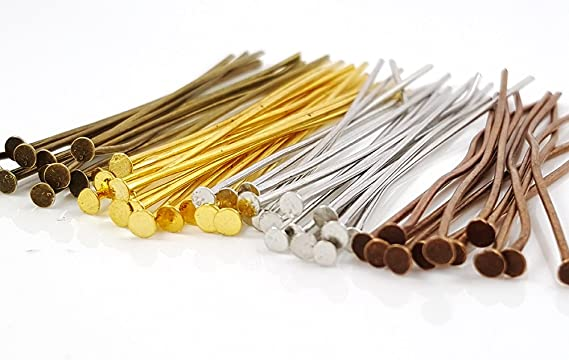 50 x Brass Headpins Antique Bronze 50mm Long FFC5051 Supplies Findings Headpins Jewellery Making