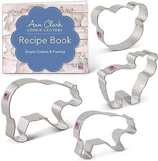 Ann Clark Cookie Cutters 4-Piece Bear Cookie Cutter Set with Recipe Booklet, Bear Head, Cute Bear, Grizzly Bear and Black Bear