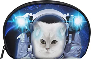 ALAZA Space Cat Half Moon Cosmetic Makeup Toiletry Bag Pouch Travel Handy Purse Organizer Bag for Women Girls