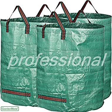 GardenMate 3-Pack 80 Gallons Garden Waste Bags PROFESSIONAL - Double Layer Bottom - Reusable Bag