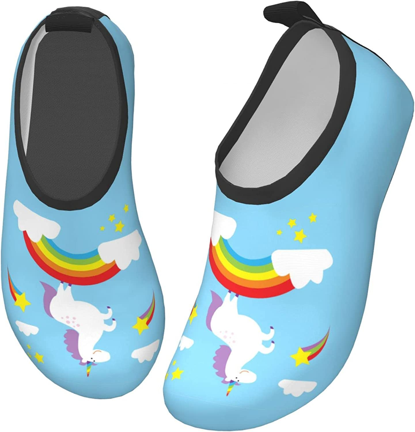 Water Shoes for Kids Boys Girls, Barefoot Quick-Dry Aqua Shoes for Beach Swim Surf Dance Exercise.(Unicorn and Rainbow)