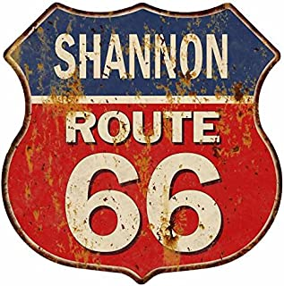 Shannon Route 66 Personalized Shield Metal Sign Man Cave Red 211110005440
