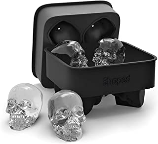 3D Skull Flexible Silicone Ice Cube Mold Tray, Makes Four Giant Skulls, Round Ice Cube Maker (Black)