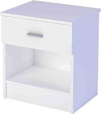 Table de Chevet de Couleur Blanche avec Un tiroir