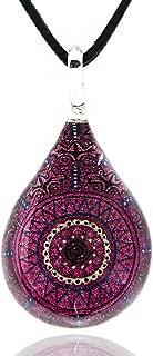 Hand Blown Venetian Murano Glass Pink Sun Mandala Teardrop Pendant Necklace, 17-19 inches
