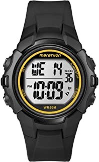 Timex Unisex Digital Watch with LCD Dial Digital Display and Black Resin Strap T5K818