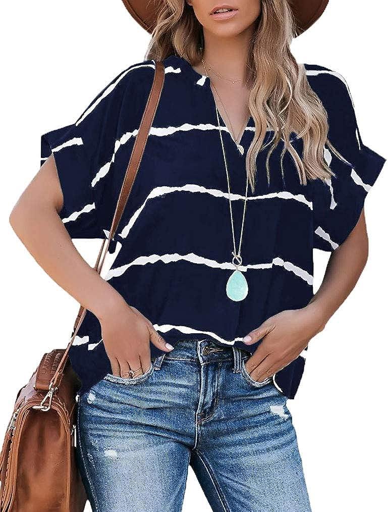 Tobrief Womens Short Sleeve Striped Blouse Summer V Neck Tie Dye Shirt Tops