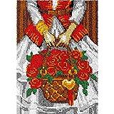 Juego de alfombras para niños con diseño de cesta de rosas para niños y adultos, para colgar en la pared, para ganchillo, para decoración del hogar, 115 x 80 cm