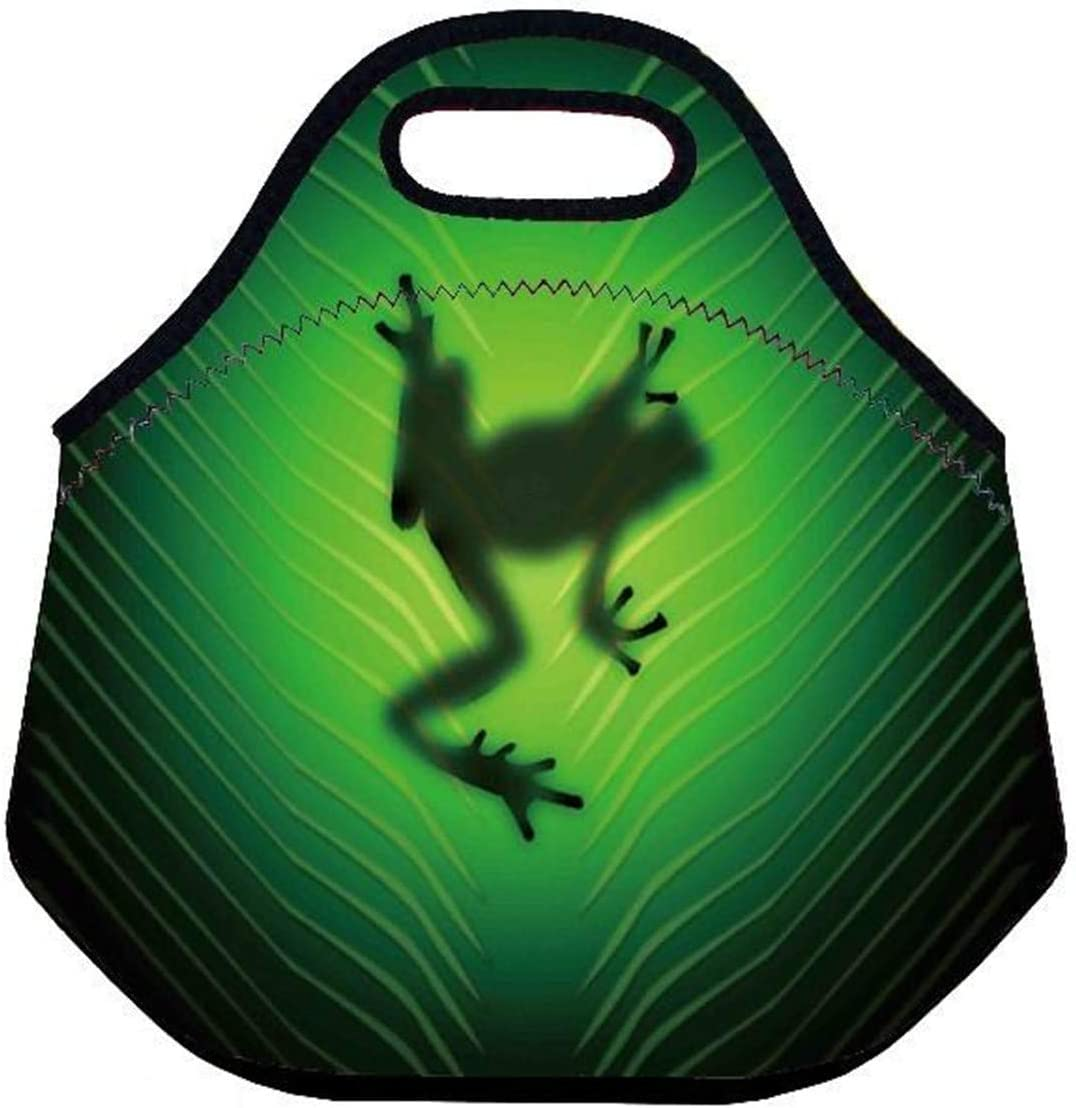 Adults Women Men Thermal Neoprene Waterproof Insulated Lunch Portable Carry Tote Picnic Storage Bag Lunch box Food Bag For Work Office (Cute Frog)