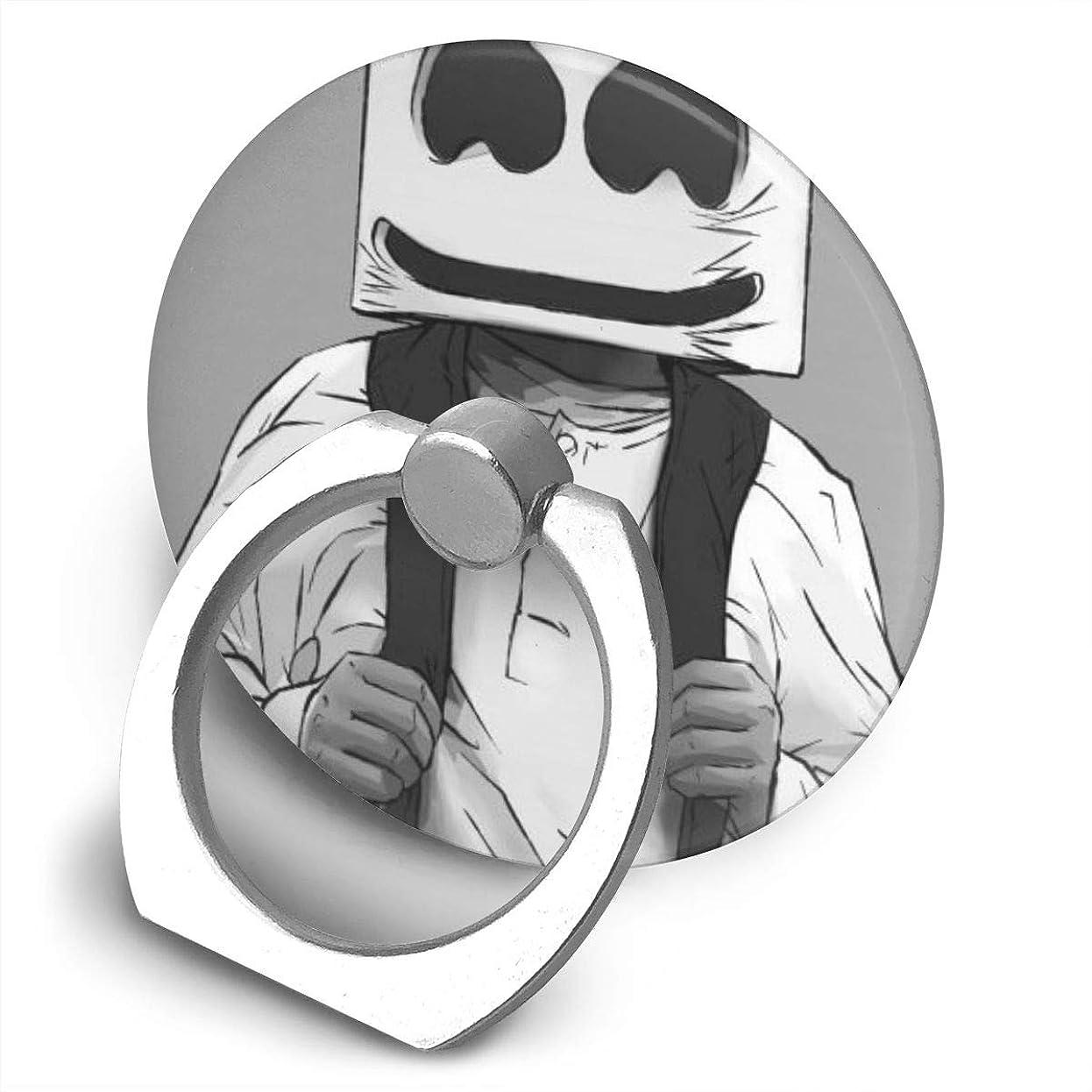 重量ロデオボイコットGreatayifong マシュメロ Marshmello バンカーリング スマホ リング おしゃれ ホールドリング 薄型 スタンド機能 ホルダー 落下防止 軽い 360 回転 IPhone/Android各種他対応 (シルバー)