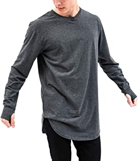 Mens Hipster Hip Hop Long Sleeve T-Shirt with Thumb Hole Sweatshirt
