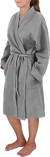 normani Damen dünner Bademantel aus 100% Baumwolle - Langer Kimono mit Waffeloptik - Waffelbademantel für Frauen