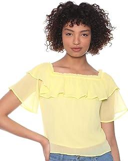 DeFacto Sheer Bertha Collar Off-Shoulder Short Sleeves Blouse for Women - Yellow