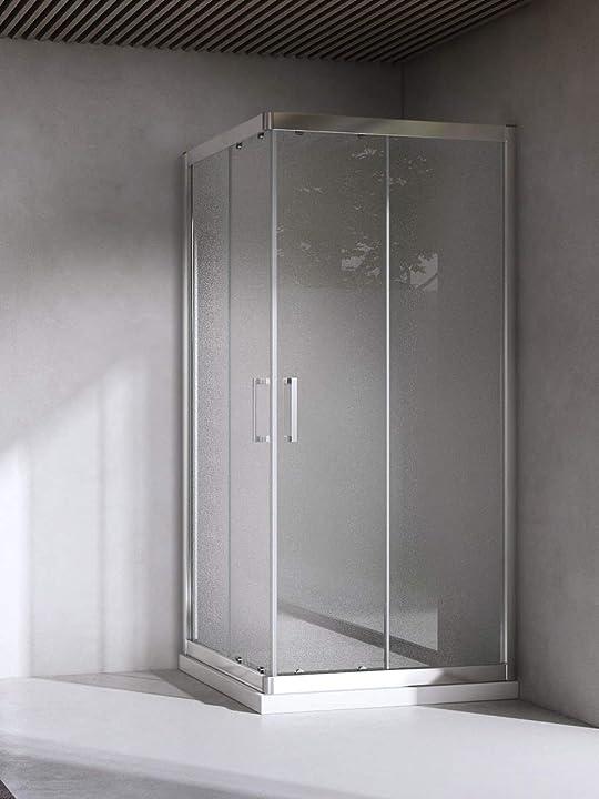 Box cabina doccia bagno quadrato, dimensioni: 70x70 cm, cristallo 6mm : puntinato opaco - yellowshop EX0707QP