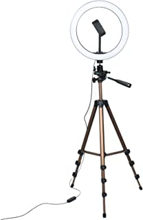 Yaootely 10 Inch Selfie Licht met 50 Inch Statief & Telefoon Houder voor Make-up Live Stream, LED Camera Licht met Afstand...
