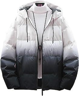 メンズ ダウンコート グラデーション 秋冬 フード付き 厚手 コットン おしゃれ カジュアル 防風 防寒 アウトドア 大きいサイズ