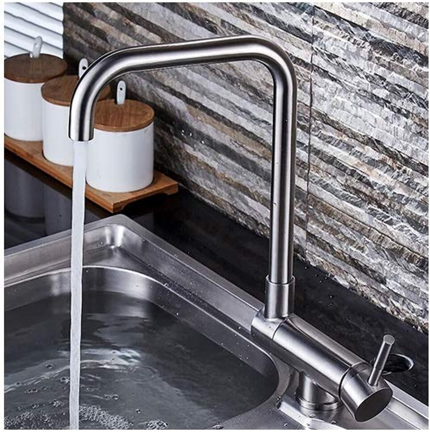 Modern Minimalist 304 Stainless Steel Kitchen Sink Hot And Cold Tap Creative Folding Sink Basin Faucet Swivel Faucet