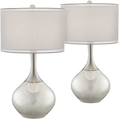 Possini Euro Design Swift Mercury Glass Table Lamp Set of 2