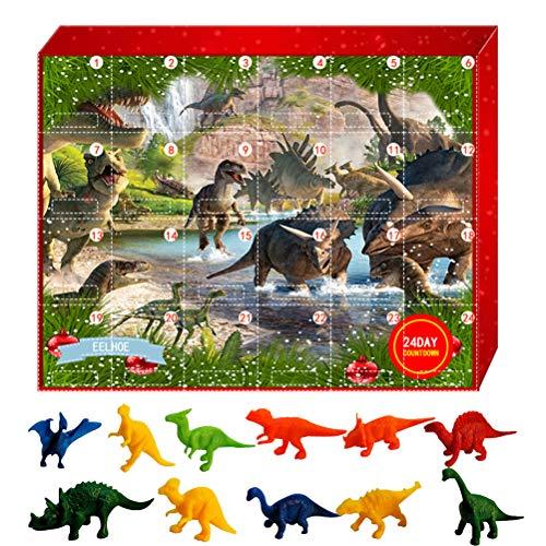 MeiLiu Adventskalender, Weihnachts Countdown Kalender, 24 Tage realistisch aussehendes Dinosaurier Tierspielzeug Set, lustige Desktop Spielzeugdekoration, Party Kinder
